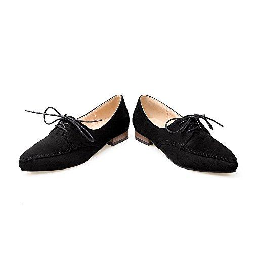 AllhqFashion Damen Spitz Zehe Schnüren Blend-Materialien Rein Niedriger Absatz Pumps Schuhe Schwarz