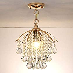 CCSUN Led E27 Gold Circular Chandelier,D:28cm Pendant Lights Fixture for Hallway Living Room Kitchen Hanging Lamp-Yellow Light
