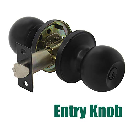 Probrico 1 Pack Black Round Entrance Door Knobs Stainless Steel Entry with Keyed Lockset