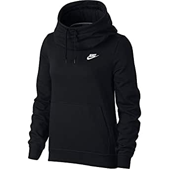 Nike Sportswear Funnel Neck Fleece Sweatshirt For Women, Medium Black (853928-010-Medium)