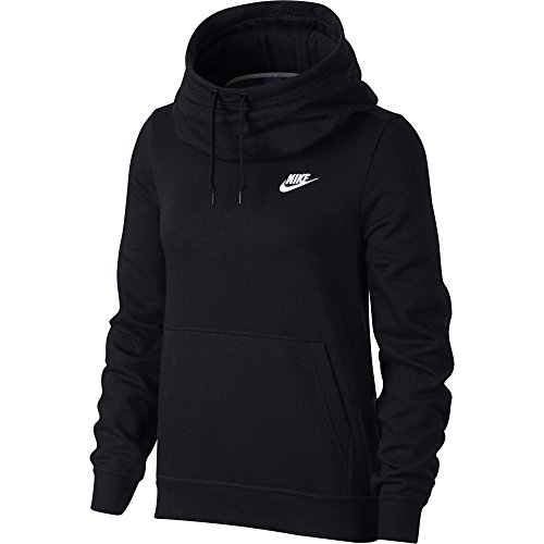 NIKE Sportswear Women's Funnel-Neck Hoodie, Black/Black/Black/White, X-Small