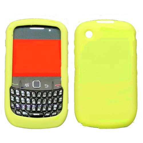 Solid Yellow Silicone Skin Cover Case Cell Phone Protector for BlackBerry Curve 8520 8530 ()