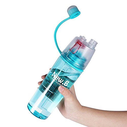 BPA Free Sports Water Drinking Cooling Bottles, S.B.T 600ML Kettle, Portable Summer Outdoor Exercise Plastic Sprayer Jug (Blue)