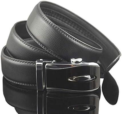 DENGDAI Belt Men auto Buckle Leather Belt Length 110-130cm