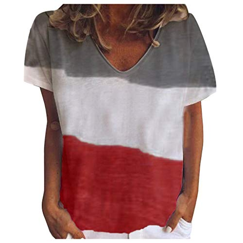 - Fshinging Women Summer V-Neck Short Sleeve T Shirt Triple Color Dyeing Tops Blouse Tunic Tops Tee Red