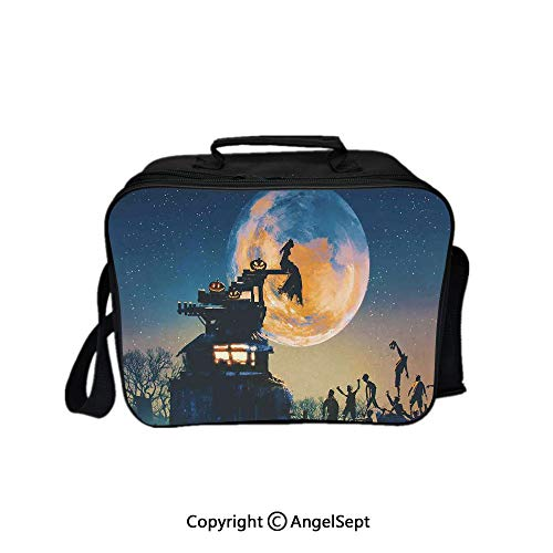 Fashion Custom Lunch Bag Tote Bag,Dead Queen in Castle Zombies in Cemetery Love Affair Bridal Halloween Theme Blue Yellow 8.3inch,Lunch Organizer Lunch Holder For Unisex Adults -