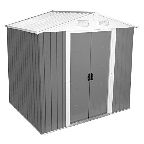 Zelsius - Gerätehaus, Geräteschuppen mit Giebeldach, 204 x 130 cm, hellgrau