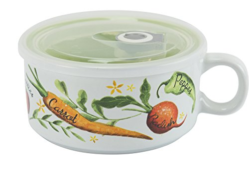 Boston Warehouse 22-Ounce Souper Bowl Victory Garden Stoneware Mug with Lid by Boston Warehouse