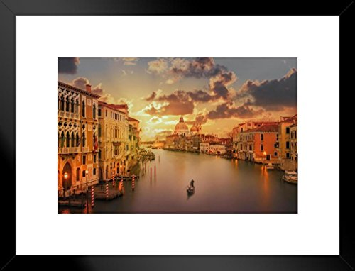 (Poster Foundry Gondola in The Grand Canal at Sunset Venice Italy Photo Art Print Matted Framed Wall Art 26x20 inch)