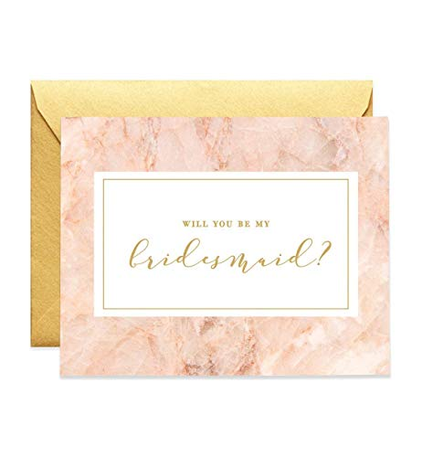 Will You Be My Bridesmaid Proposal Cards (Set of 5) Pink Gold Engaged Wedding Bridal Party Brides maids Greeting Cards Gold Shimmer Luxe Metallic Envelope Five Pack CW0013-1 ()