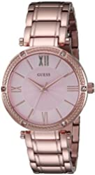 GUESS Women's U0636L2 Feminine Rose Gold-Tone Watch with Light Pink Dial