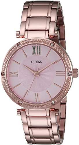 Dial Buckle Steel Stainless (GUESS Women's U0636L2 Dressy Rose Gold-Tone Watch with Textured Pink Dial and Stainless Steel Pilot Buckle)