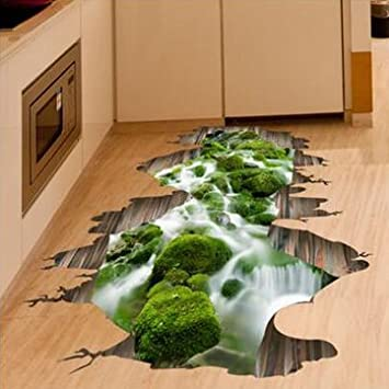 Buy 3D Stream Floor Decor Wall Sticker Removable Mural Decals