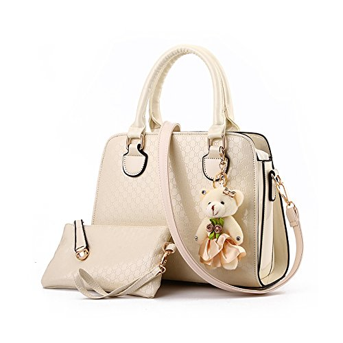 pendant white ladies Messenger handbag shoulder bag Handbag bag black fashion Ladies retro creamy wallet Tisdaini bag bear axYqP8X