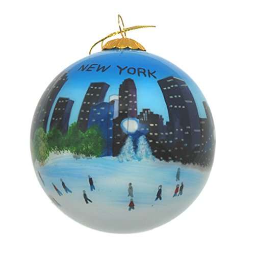 Hand Painted Glass Christmas Ornament - Ice Skating in New York ()