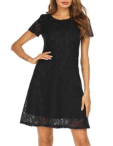 Women's Short Sleeve Floral Lace Elegant Cocktail Party A-Line Mini Dress (Small, Back-1)