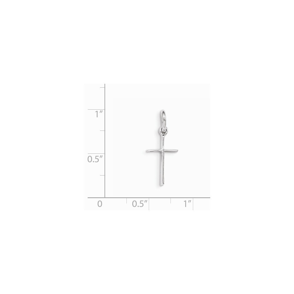 925 Sterling Silver Rh Plated Childs Polished Cross Pendant