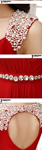 Largo Rojo Con Honor Eyekepper Hombro Cuentas Vestido Gala Dama Cutout De Detras twX0PBqPU