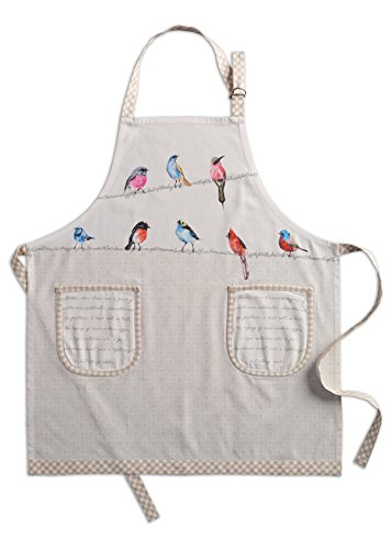 Apron Bird - Maison d' Hermine Birdies On Wire 100% Cotton Apron with an Adjustable Neck & Two Side Pockets, 27.50 - inch by 31.50 - inch