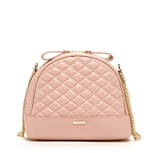 Pink Crossbody Purses and Handbags for Women Blush Cross body Bags Leather Crossover Purse Quilted Cute Designer Chain Cross over Handbag Genuine Real Lambskin Best Chic Womens Girls It Bag with Bow ()