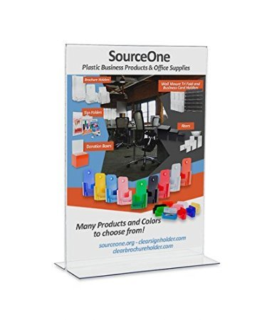 SourceOne LARGE Upright 11 w. x 17 t. Premium Clear Acrylic Sign Holder Pack of 5 (5-Pack, - Holder Upright