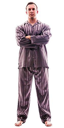 Men's Striped Satin Classic PJ set, Up2date Fashion Style- PJ55MediumGrey