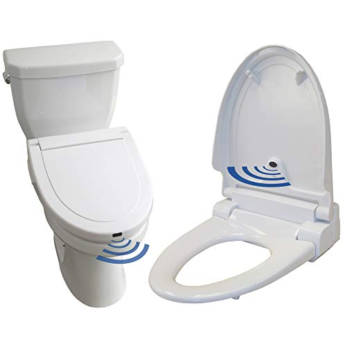 iTouchless Touch-Free Sensor Controlled Automatic Toilet Seat - Elongated Model, Off-White