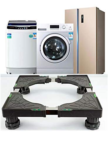 Universal Mobile Base Dorm Fridge Stand with 4 Strong Feet Multi-Functional Adjustable Base for Adjustable Dryer, Washing Machine and Mini Refrigerator