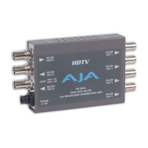 AJA HD10DA 1x6 HD/SD Dual Rate Reclocking Distribution Amplifier by Aja