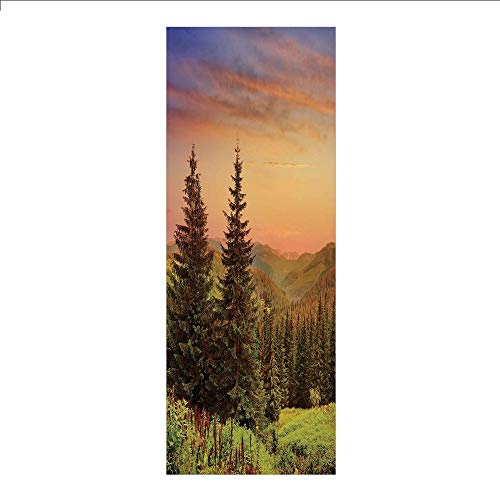 3D Decorative Film Privacy Window Film No Glue,Forest,Heaven Like View with Fir Trees Pines Spruce on Sidehills at Dawn Outdoors,Green Coral Lilac,for Home&Office
