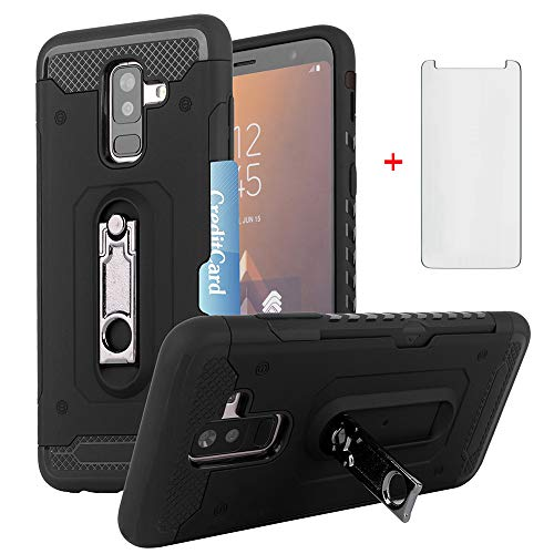 Phone Case for Samsung Galaxy A6 Plus A6+ J8 2018 with Tempered Glass Screen Protector Cover Cell Accessories Credit Card Holder Wallet Kickstand Heavy Duty Protective Glaxay A6Plus Women Girls Men