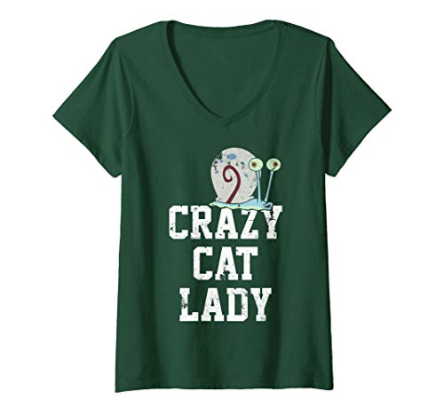 (Womens SpongeBob SquarePants Gary Crazy Cat Lady V-Neck T-Shirt)