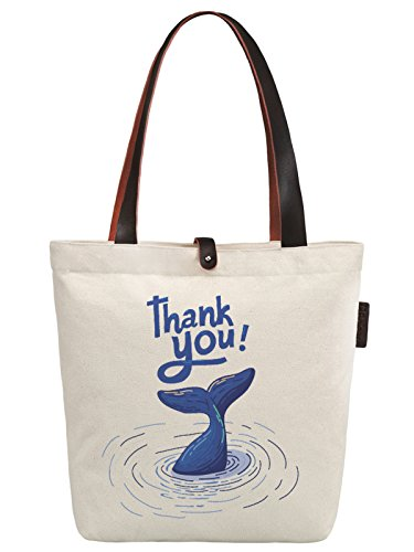 So'each Women's Thank You Letters Graphic Canvas Handbag Tote Shoulder Bag