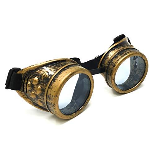 Steampunk Victorian Goggles Rave Glasses in Vintage Gold,