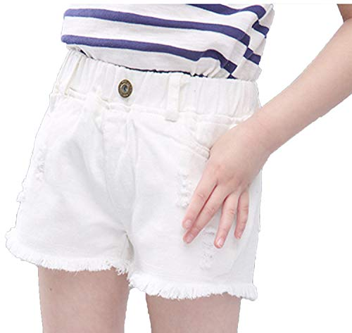 (luygxile Girls Denim Shorts Summer Children Clothing Cotton Linen Beachwear Pant,White,7)