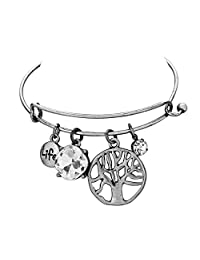Rosemarie Collections Women's Tree Of Life Crystal Charm Bangle Bracelet