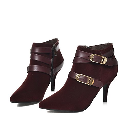 Claret Toe Women's Pointed Ankle Boots Frosted AmoonyFashion Closed High Suede Solid Imitated 76qwP