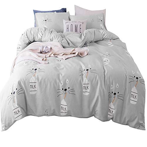AMWAN Cotton Soft Kids Duvet Cover Set Cartoon Cat Pattern Full Queen Bedding Set Modern Reversible Comforter Quilt Cover Set for Boys Girls Teens Zipper Closure Cotton Toddler Bedding Collection