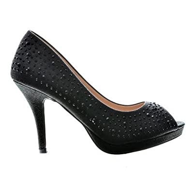 5e0f9ea94a4 Amazon.com | Silver Sparkle Peep Toe Dress Heels w/Crystal Studs | Pumps