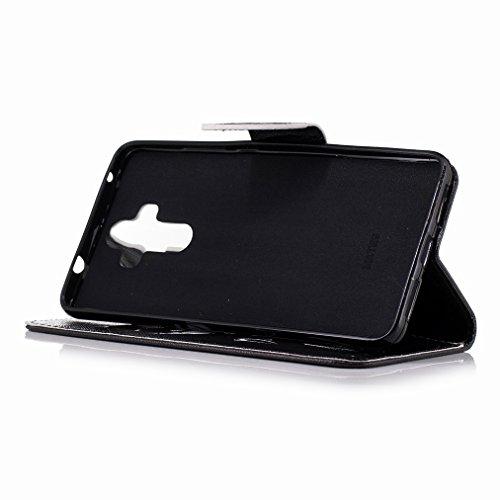 Custodia Huawei Mate 9 Cover Case, Ougger Cool Style Portafoglio PU Pelle Magnetico Stand Morbido Silicone Flip Bumper Protettivo Gomma Shell Borsa Custodie con Slot per Schede