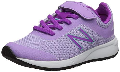 New Balance Girls' 455v2 Hook and Loop Running Shoe, Dark GLO/Voltage Violet, 13 W US Little ()