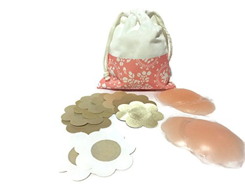 Nipple Covers, 5 Pairs Sexy Breast Pasties, 2 Pairs Silicone Nipple Cover with Gift Pouch