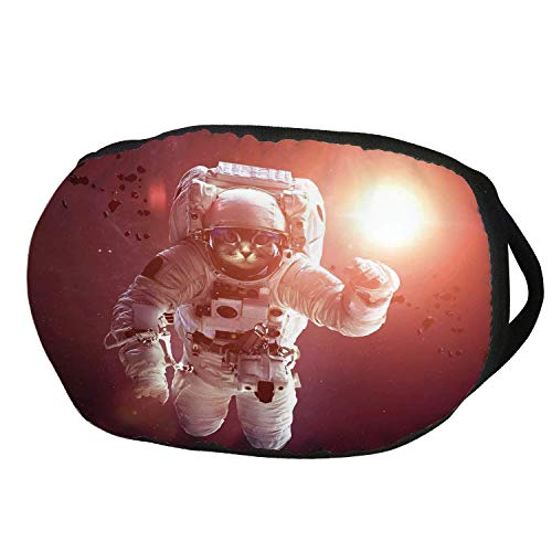 Fashion Cotton Antidust Face Mouth Mask,Space Cat,Pet Cat in Outer Space Planet Meteors Galaxy with Astronaut Suit Image,White Purple and Ruby,for women & men]()