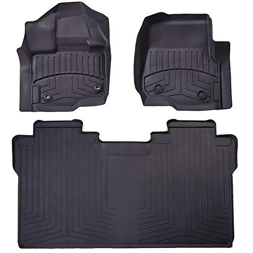 Floor Liner Fit Ford F150 2015-2019,AKM Black Floor Mats (Includes 1st and  2nd Row) fit Supercrew(Crew Cab) Carpet Floor Bucket(Updated version)