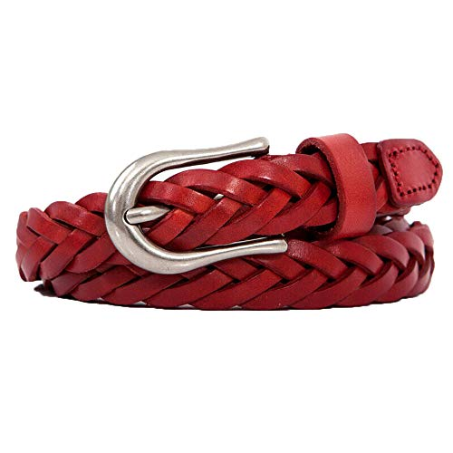 Fashion retro ladies belt suede leather hand-woven simple leather belt skirt casual jeans belt, 60-95cm, red