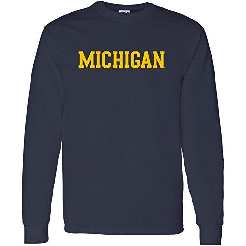 - Michigan Wolverines Basic Block Long Sleeve T-Shirt - 2X-Large - Navy