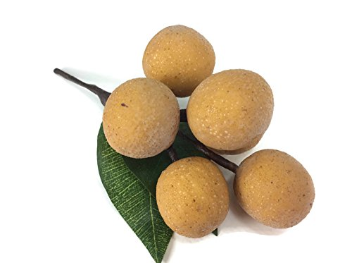 perfect2desire Longan Artificial Fruit Lifelike Simulation Leaves Faux Fake Fruit Home Kitchen Cabinet Decoration Realistic Clay Assortment -