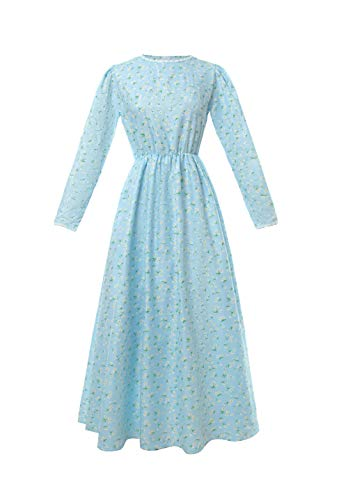- ROLECOS Pioneer Women Costume Floral Prairie Dress Deluxe Colonial Dress Laura Ingalls Costume Light Blue XXL