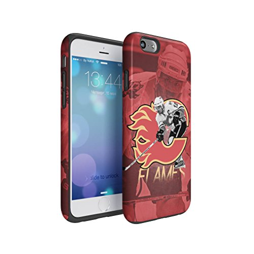 Calgary Flames Jarome Iginla Hybrid Hard Plastic Outer & TPU Inner Layer Shock Absorbing Tough Protective Phone Case Cover Shell For iPhone 6 & iPhone (Calgary Flames Hybrid)