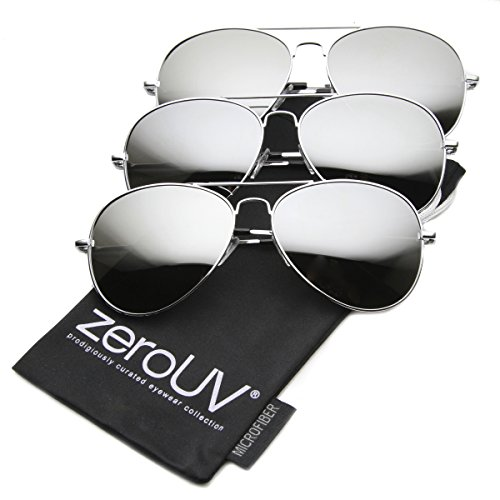 zeroUV - Premium Mirrored Aviator Top Gun Sunglasses w/ Spring Loaded Temples (3-Pack - Sunglasses Temple Of